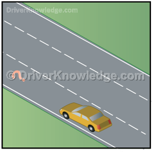 far left lane on highway