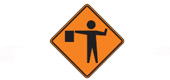 flagger is controlling traffic