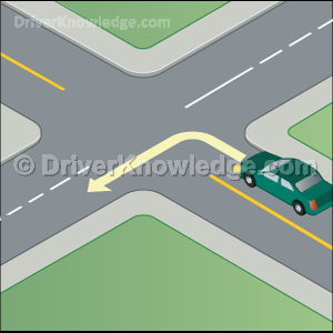 turning left onto a one way road