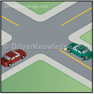 two vehicles arrive at an uncontrolled intersection same time